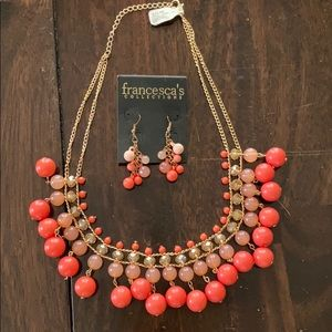 Francesca's Coral Bead Necklace & Earrings